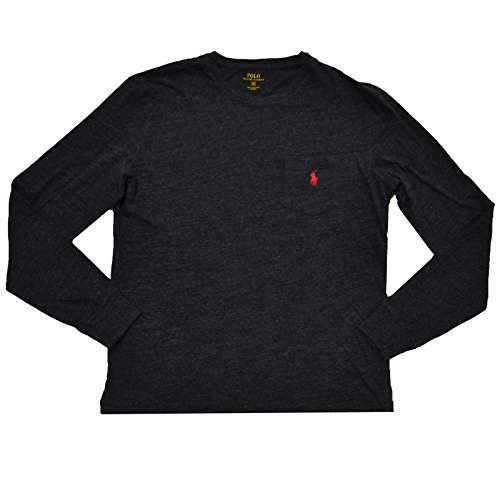 Polo Ralph Lauren Mens Long Sleeve Pocket T-Shirt (Medium, Black Heathered - Red Pony)