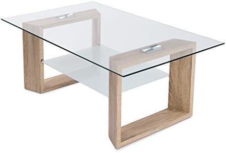 HomeSouth - Mesa de Centro Fija, Cristal Transparente, Patas Color Cambria