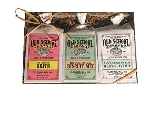 Old School Brand 3 Item Gift Box - Contains Stone Ground NON-GMO White Grits, Buttermilk Biscuit Mix, and Southern Style White Gravy Mix (Best Southern Buttermilk Biscuits)
