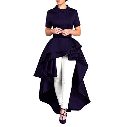 SanCanSn Women Dress ✿ Women Air Layer Short Sleeve Dress High Waist Dress Bodycon Casual Party Club Dress (XL, Dark Blue)
