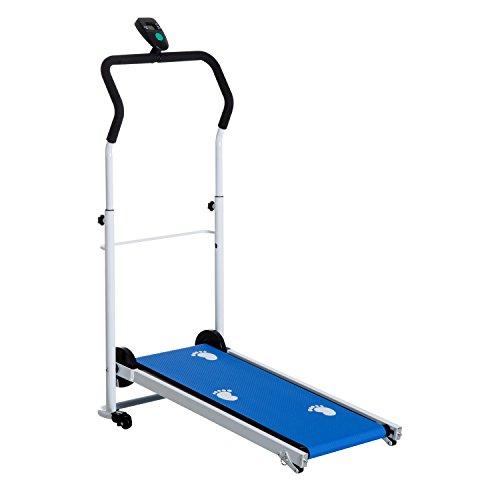HOMCOM Portable, Folding, Manual Treadmill for Home Gym Cardio Fitness...