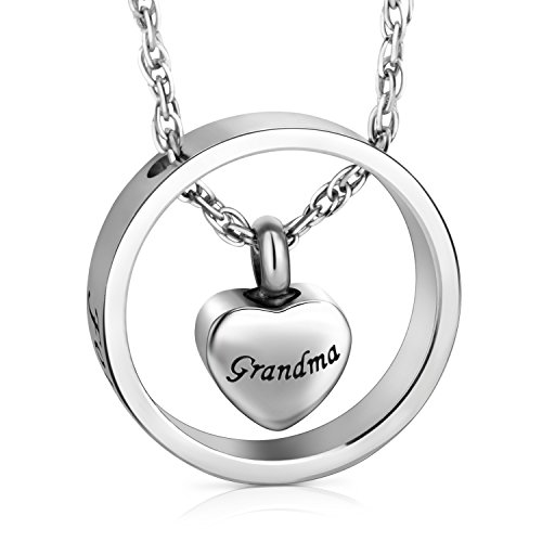 (XIUDA Cremation Jewelry for Ashes, Forever in My Heart Carved Locket for Grandma)