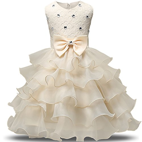 NNJXD Girl Dress Kids Ruffles Lace Party Wedding Dresses Size (130) 5-6 Years Yellow (Cream Bow Belt)