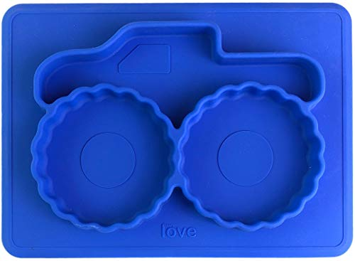 Silicone Placemat Toddler Plates - Mini Monster Truck - from Freezer to Microwave to Table. Fits in a Ziplock Bag. (Blue) ()