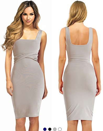 Imports Dinner - Evening Cocktail Midi Dress For Woman To Sexy Bodycon Business Office Work Casual Elegant Winter (Grey, Small)