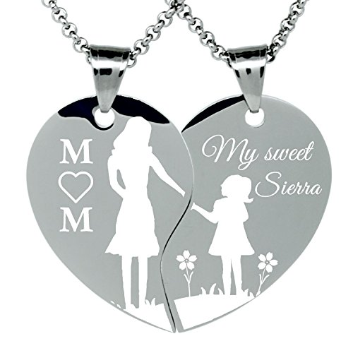 989255cbb4cda 2 Piece Stainless Steel Mom and Daughter holding hands Engraved Split Heart Pendant  Necklaces Gift Set