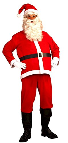 5 Piece Santa Suit Set Christmas Santa Claus Costume with Beard Adult Size ()