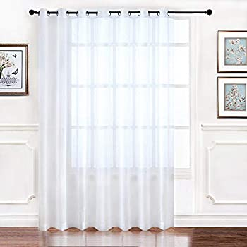 RYB HOME Extra Wide Sheer Window Curtains for Sliding Glass Patio Door, Light Glare Filter Grommet Curtain Vertical Voile Drape for Living Room, White, Width 100