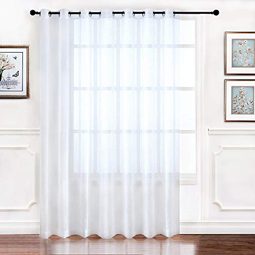 (RYB HOME Extra Wide Sheer Window Curtains for Sliding Glass Patio Door, Light Flirting Grommet Top Vertical Voile Drape, New White, Width 100