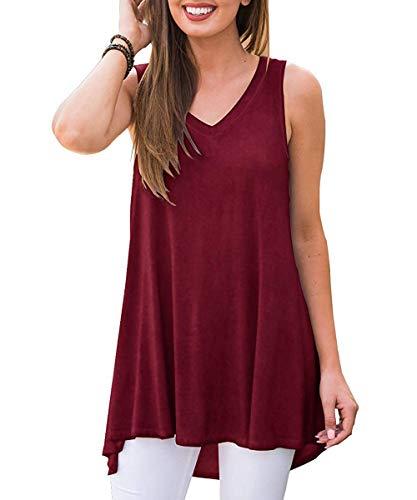(GADEWAKE Womens Summer V Neck Floral Printed Sleeveless Tank Tops Casual Shirts Tunics Wine)