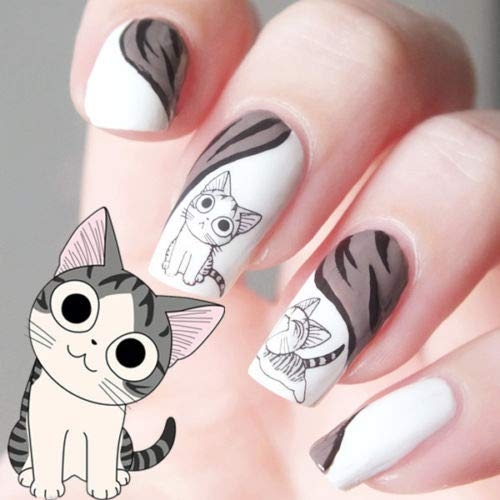 Aland 10 Sheets Nail Art Water Transfer Sticker Happy Cute Cat Pattern Manicure Decals]()