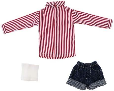ドール衣装 人形のTシャツ ベスト ズボン 1/6スケール 工芸品 小道具 お世話パーツ レッド
