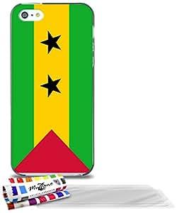 """Carcasa Flexible Ultra-Slim APPLE IPHONE 5S / IPHONE SE de exclusivo motivo [Sao Tome e Principe Bandera ] [Gris] de MUZZANO  + 3 Pelliculas de Pantalla """"UltraClear"""" + ESTILETE y PAÑO MUZZANO REGALADOS - La Protección Antigolpes ULTIMA, ELEGANTE Y DURADERA para su APPLE IPHONE 5S / IPHONE SE"""