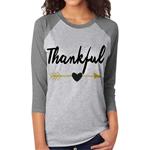[FAPIZI ♥ Women Blouse ♥ Women Tee Letter Arrow Printed Three Quarter Sleeve Splicing Top T-Shirt (XXL,] (Funny 2 People Costume)