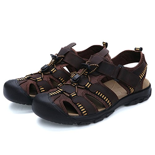Shoes Breathable for Brown Green 2018 Baotou Sports Size 42 Leather Men's Size Outdoor Shoes Sandals HUAN Coffee Shoes Beach Men's Casual Large Summer C Color 7xzW4w868n