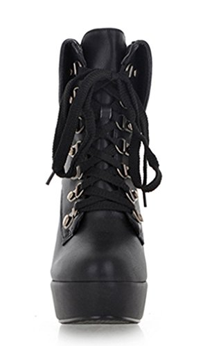 Three's High Up Boots Heel Party Black Ladies Lace Ankle 2017 Boots Platform dTqHR0x