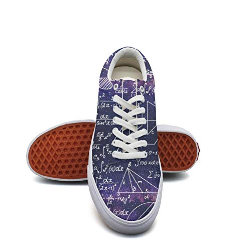 fvnoui Women'sPurple Galaxy Math Functions Equations Canvas Shoes Low-Cut Straps Funky Sneakers Suitable for Walking -