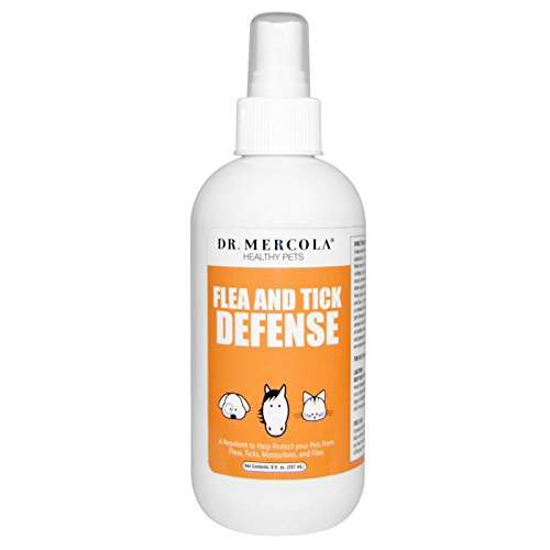 Dr. Mercola Flea and Tick Defense - 1 Spray Bottle (8 fl. oz.) - Natural Flea & Tick Control for Dogs & Cats - Healthy and Safe - Made with Essential Oils and Pure Water - Natural Flea Prevention
