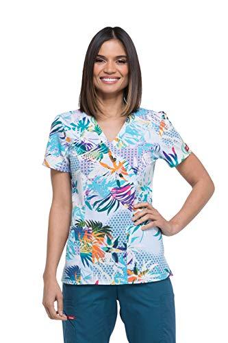 - Dickies Fashion Prints Women's Mock Wrap Tropical Print Scrub Top Medium Print