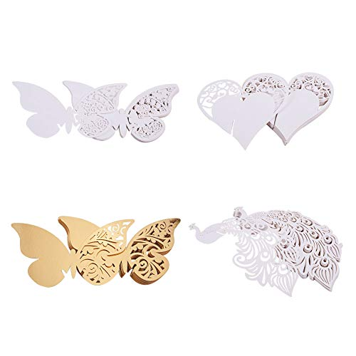 (PandaHall Elite About 80 Pieces Butterfly Peacock Heart Wine Glass Cards Laser Cut Wedding Table Paper Number Name Place Card for Wedding Party Decoration Gold and)