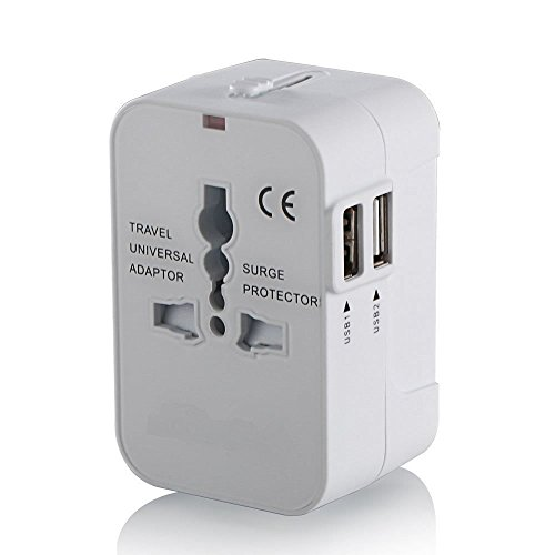 Light.key All in one Travel adapter World wide international wall power plug univeral adapter charger with Dual USB (White)