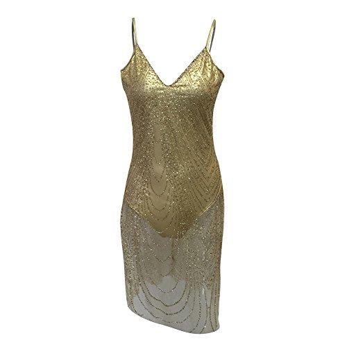 Party Aro Backless Straps Spaghetti Mesh Mini Club Dress Gold Bodycon Women's Lora fnwxrqC8Ff
