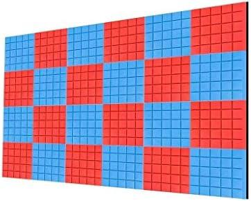 屋内多機能音響パネル、(24個)青+赤自己接着屋内録音スタジオスタジオソフト吸音コットン (Color : 24 PCS)