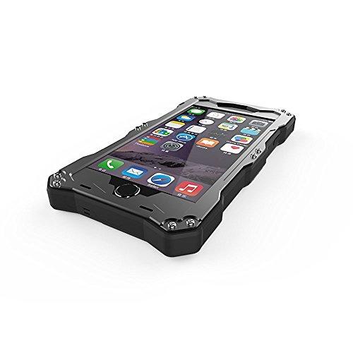 r-just New IP68Wasserdicht Schutzhülle Unterwasser snow-resistant Staubdicht Stoßfest vollständig versiegelt Shell Heavy Duty Metall, gehärtetem Glas unterstützt Touch-ID für Iphone 6Plus 5,5–Schw