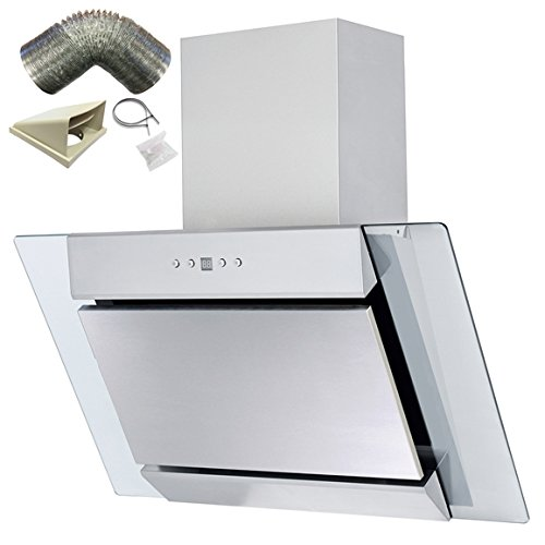 SIA AGL71SS 70cm S/Steel Angled Glass Chimney Cooker Hood Extractor+ 3m Ducting