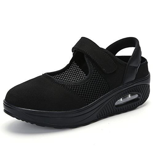 Hishoes Women's Mesh Walking Shoes Non-Slip Shake Shoes Lightweight Wedges Sandals Loafers Sneakers Black