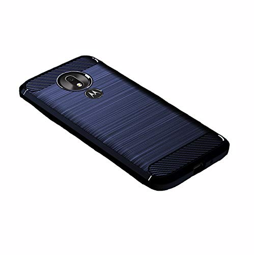 LiXiongBao for Motorola Moto G7 Power US Phone Case TPU Carbon Fiber Brushed Soft Slim Anti-Scratch Rubber Bumper Protective Case Cover for Moto G7 Power/Moto G Power 7th gen/Moto G7 Supra (Navy Blue) (Navy Supra)