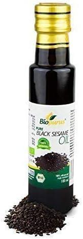 Negro aceite de sésamo orgánico certificado prensado en frío 100ml biopurus