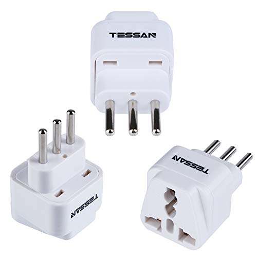 TESSAN Grounded Universal Travel Plug Adapter USA to Italy Travel Prong Converter Adapter Plug Kit for Italy (Type L) - 3 Pack(WHITE)
