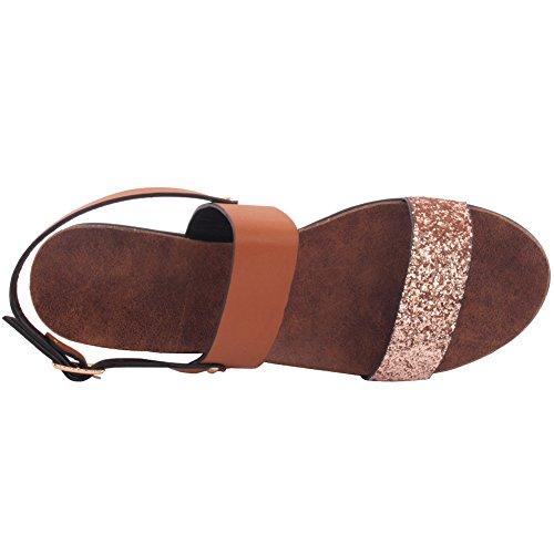 Unze Nuevas mujeres 'Kimmy' Glittered doble correa Verano Beach Party Reunirse Escuela de Carnaval Casual Wedge Sandalias zapatos Reino Unido Tamaño 3-8 camello