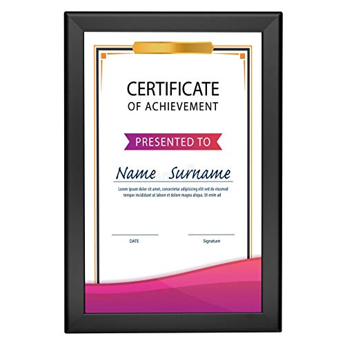 SnapeZo Notice Frame 11x17 Inches, Black 1.25 Inch Aluminum Profile, Front-Loading Snap Frame, Wall Mounting, Professional Series