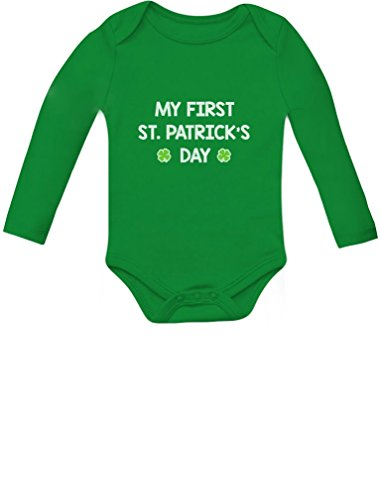 St Patricks Day Baby Shower - My First St. Patrick's Day - Cute Infant Irish Clover Baby Long Sleeve Bodysuit 6M Green
