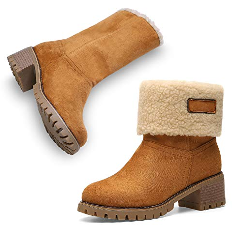 Winter Boots for Women Stylish Fold Suede Chunky Mid Heel Round Toe Short Snow Ankle Boots 19NXEA01-W4-6.5