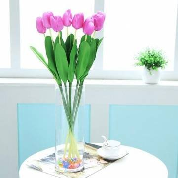 Kyz Kuv 10 Bouquet Artificial Tulip Silk Flowers Home Party Decor - Red X095922 - RedR