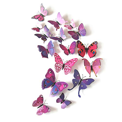 (JYPHM 24PCS Butterfly Wall Decal Removable Refrigerator Magnets Mural Stickers 3D Wall Stickers for Kids Home Room Nursery Decoration Wall Art Purple)