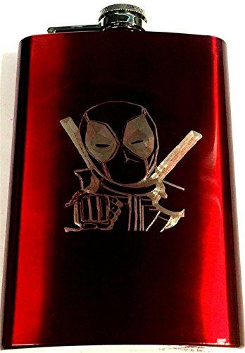 Deadpool Engraved Red Stainless Steel 8oz Hip Flask Liquor FEN-0041 (Engraved Flask 8 Oz)