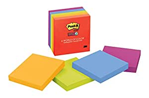 Post-it Super Sticky Notes, 3 in x 3 in, Marrakesh Collection, 5 Pads/Pack (654-5SSAN)