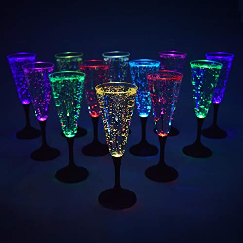 GlowCity Light-Up Plastic Champagne Flutes - LED Glow-in-the-Dark Party Glasses - Multiple Color Set of 12, FDA Approved, Batteries -