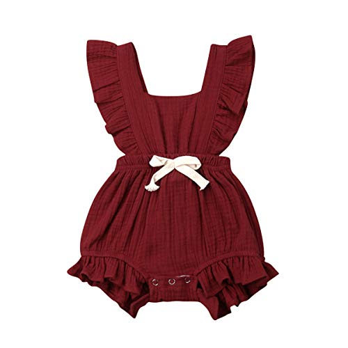 ITFABS Newborn Baby Girl Romper Bodysuits Cotton Flutter Sleeve One-Piece Romper Outfits Clothes (Wine Red 2, 0-6 Months)