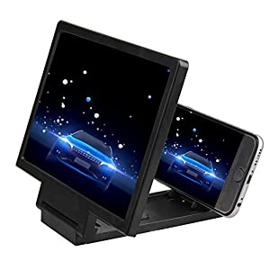 LLOP Smart Mobile Phone Screen Magnifier 3D HD Movie Video Amplifier with Foldable Holder Stand - Phone Projector for All Smartphone iPhone 6 6s Plus, Samsung Galaxy Note5 4 3 S6 Edge (Black, Style1)
