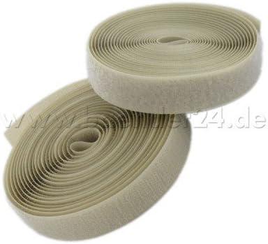 Flausch und Haken 25mm breit zum Aufnaehen 4m Klettband Farben: natur