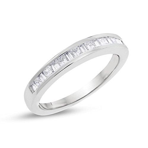0.50 CT Baguette Princess Diamond Alternating Wedding Band 14k White Gold