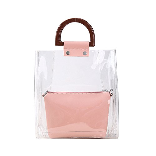 da Satchel nera Lady Fashion spiaggia New Leisure Style Bag Trasparente Summer Meaeo Borsa rosa 8dq7q