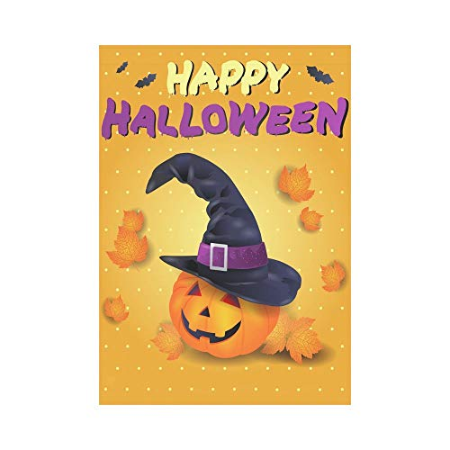 Witch Flying on her Broomstick Polyester Garden Flag Outdoor Banner 12 x 18 inch, Halloween Bats Spooky Night Decorative Large House Flags for Party Yard Home -