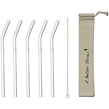 Reusable Straws - 5 Pack Clear Bent Glass Straws + FREE Cleaning Brush + Eco-friendly Carrying Pouch - Premium Glass Straws by A Better Straw