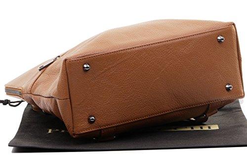 Primo Sacchi® italienischer, texturierter Leder-Schultertasche Rucksack Rucksack. Inklusive Markenschutz-Aufbewahrungstasche Dark Tan
